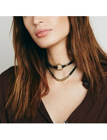 Trendy Multilayer Hollow Gold Round Necklace Casual Choker Necklace Fashion Jewelry for Women