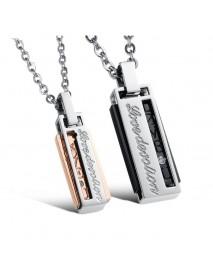 Fashion Titanium Steel Rectangular Box Men Women Love Couple Necklace Gift