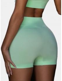 Sport Women Plain Elastic Seamless Yoga Gym High Waist Shorts