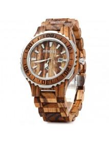 BEWELL ZS-100BG Luminous Hands Calendar Wood Watches Waterproof Quartz Unisex Watch