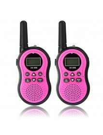 2pcs HK-688 0.5W UHF Auto Multi-Channels Mini Radios Walkie Talkie Built-in Flashlight Pink