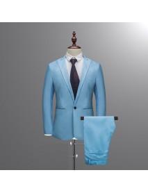 Men's Casual Formal Tuxedos Blazers Pure Color 2 Pieces Slim Fit Pants Suits