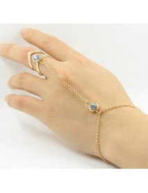Fashion Chain Bracelets Hollow Geometric Rhinestone Bracelet Together with Ring Jewelry for Women