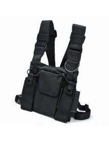 Chest 3 Pocket Harness Nylon Bag Pack Backpack Holster for Radio Walkie Talkie Two Way Radio