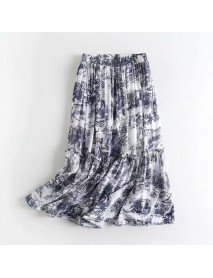 European And American Style New Women's Retro High Waist Loose Thin Ink Printing Long Pleated Skirt
