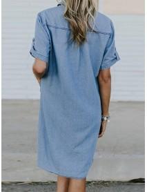 Plus Size Casual Turn-down Collar Front Pockets Women Shirt Dress