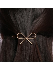 Cute Girl's Metal Silver Gold Color Bowknot Hair Clip Practical Ponytail Holder Hair Accessories
