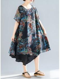 Women Casual Printed Short Sleeve Irregular Hem Chiffon Dress