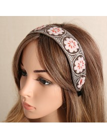 Ethnic Temperament Embroidery Flower Headband Peach Heart Fabric Embroidery Hair Band