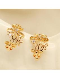 1 PC Stylish Hollow Flower Rhinestones Earring No Piercing Clip Sweet Earrings  for Women