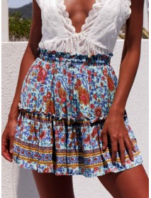 Ethnic Women Elastic Waist Floral Ruffle Pleated Printed Mini Short Skirts