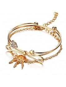 Elegant Cuff Bracelets Chain Dream Net Bowknot Crystal Heart Fashion Multilayer Bracelet for Women