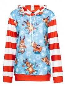 Christmas Cartoon Cute Elk Snowflake Print Splice Hooded Sweatshirt with Pockets