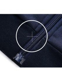 Mens Casual Sport Suits Stand Collar Zip Sweatshirt Elastic Waist Joggers Sport Pants