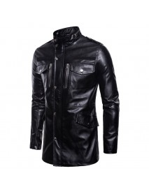 Mens Mid Long Black Stand Collar Pocket Biker Faux Leather Jacket