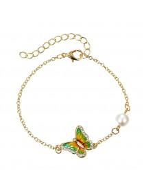 Elegant Enamel Butterfly Charm Bracelet Sweet Dazzling Rhinestone Pearl Bracelets for Women
