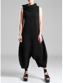 M-5XL Women Cotton Sleeveless Baggy Overalls Jumpsuit