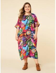 Bohmian Print Contrast Color Bat Sleeve Pocket Maxi Dress