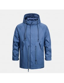 Men's New Leisure Cotton Hooded Mid Long Jacket