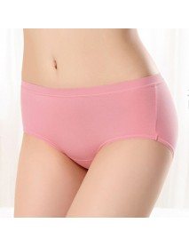 Comfort Pure Color Modal Underwear Mid Rise Breathable Soft Panties For Women