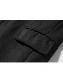 Mens Mid-long Slim Fashion Single-breasted Solid Color Trench Coats