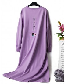 Cotton Long Sleeve Patchwork Loungewear Overhead Nightgown