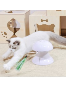 Loskii Pet Laser Cat Toys Feather Ribbon Laser Electric Cat Toy Turntable USB Charging