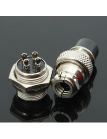 10Pcs GX16-4 4-Pin 16mm Aviation Pug Male and Female Panel Metal Connector