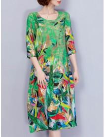 Women Elegant Art Print 3/4 Sleeve Loose Dress