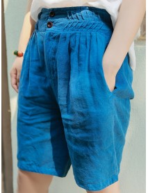 Casual Women Linen Elastic Waist Pure Color Shorts