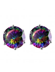 Classic Colorful Women's Stud Earrings White Gold Plated Dazzling Cubic Zirconia Piercing Earring