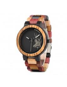 BOBO BIRD W*P14-2 Elk Deer Head Quartz Watches Colorful Band  Men Wooden Wrist Watch