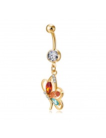 Sexy Butterfly Belly Rings Fashion Body Jewelry Colorful Rhinestone Zirconia Piercing Ring For Women