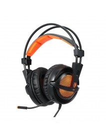 SADES A6 USB Wired 7.1 Stereo Surround Gaming Headphone with Mic Voice Control LED Light for Laptop Computer Gamer