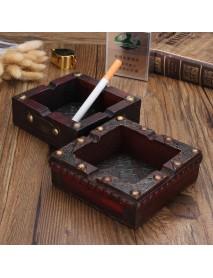 Vintage Wooden Trinket Ashtray Handcraft Inlaid Smoke Cigarette Case