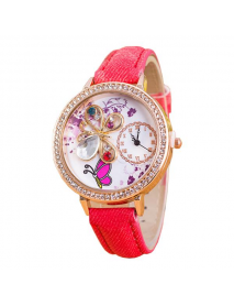 Women Girls 3D Butterfly Crystal Denim Canvas Band Quartz Fashion Wrist Watch