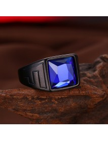 Fashion Titanium Steel Ring Blue Glass Gun Black Plated Ring Wholesale for Men