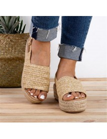 Women Casual Straw Braided Peep Toe Espadrille Platform Sandals