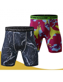Men's Fitness Camouflage Tight Shorts Compression Running Training Speed Dry High Elastic Shorts