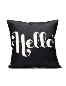 43x43cm Black English Letter Fashion Cotton Linen Pillow Case Home Sofa Seat Bed Car Cushion Decor