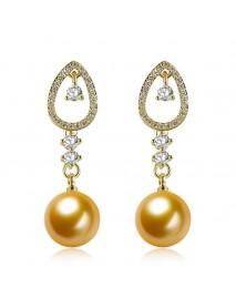 INALIS Trendy Gold Plated Zircon Earrings Pearl Pendant Women Ear Drop