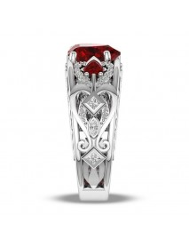 Sweet Heart Shape Hollow Ruby Finger Ring Women Wedding Ring Gift