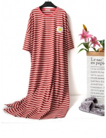 Cartoon Fruit Patchwork Striped Short Sleeve Cotton Nightgown