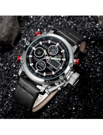OULM 3811 Waterproof LED Dual Display Watch Casual Style Genuine Leather Strap Quartz Watch