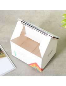 2019 Calendar Folding House Desktop Table Paper Note Storage Box Daily Organizer