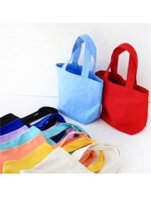 Bento Bag Canvas Cloth Bag Portable Lunch Box Cosmetic Bag Clutch Bag For Men And Women