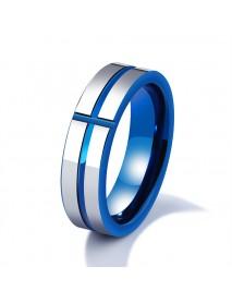 6mm Tungsten Steel Men Ring Blue Cross Simple Trendy Jewelry