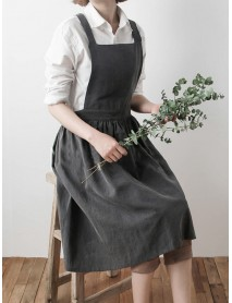 Japanese Style Retro Pure Color Cotton Linen Pleated Aprons Dress