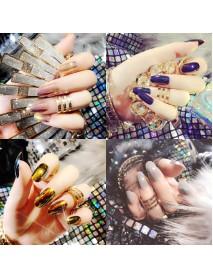 24pcs Shell Luster Nail Tips Mirror Hologram Decoration Metallic False Nails Manicure Glue Salon