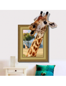 3D Giraffe Living Room Bedroom Animals Floor Home Background Wall Decor Creative Stickers